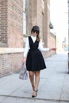 white turtleneck Forever 21 top - black pinafore jumper Lulus dress