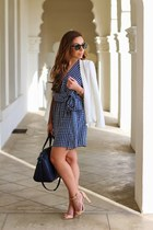 navy greylin dress - white chiffon white unknown brand blazer - navy Zara bag