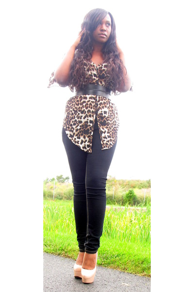 dark brown leopard chiffon necessary clothing top - black joes jeans