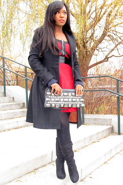 red unknown brand dress - black Paprika boots - black H&M coat