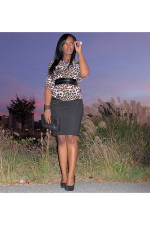 brown leopard unknown blouse - black Zara skirt - black Qupid pumps