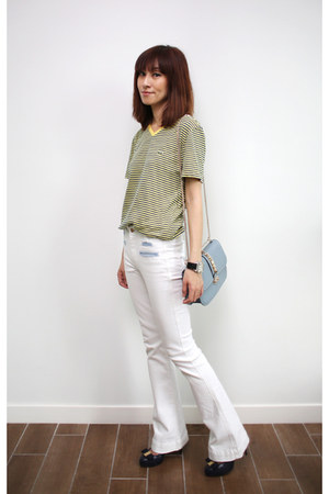 Lacoste top - white 7 for all mankind jeans - blue Valentino bag