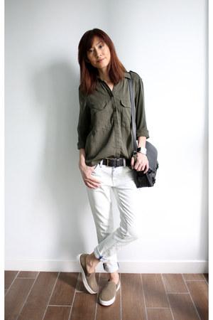 army green Zara top - denim current eliott jeans - black PROENZA SCHOULER bag