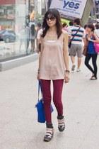 peach Mood & Closet top - maroon Mood & Closet jeans - blue Mood & Closet bag