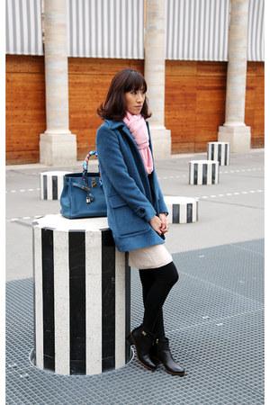 neutral knit dress - Fendi boots - Miu Miu coat - Sportsgirl scarf - Hermes bag