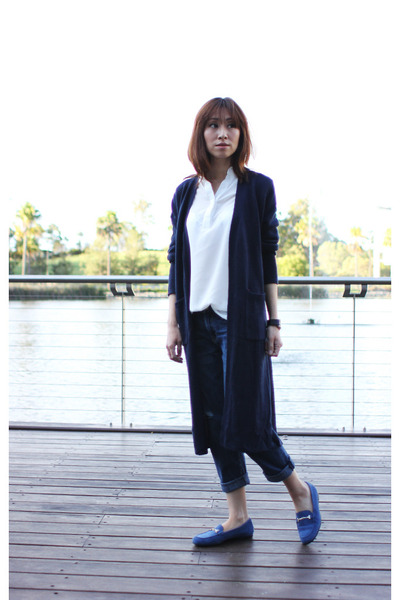Mood & Closet cardigan - boyfriend jeans Current Elliott jeans - Tods loafers