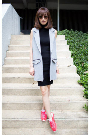 bubble gum Melissa shoes - knit Mood & Closet dress - vest Topshop blazer