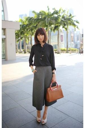 Melissa heels - Hermes bag - culottes asos pants - black polka dot Zara top