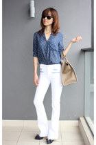 polka dots Zara top - 7 for all mankind jeans - Celine bag - Ray Ban sunglasses