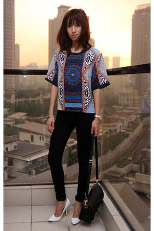 navy Club Monaco top - black skinny denim 7 for all mankind jeans
