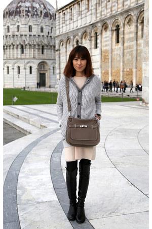 Stefanel dress - over the knee stuart weitzman boots - Hermes bag
