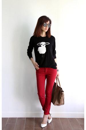 black DKNY sweater - red Levis jeans - Celine bag - Karen Walker sunglasses