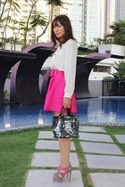 hot pink KTRStyle skirt - black Furla bag - heather gray Boutique 9 heels