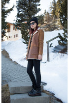 brown shearling Prada jacket - black coach boots - black 7 for all mankind jeans