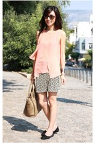 light orange chiffon Zara top - light brown boston Celine bag