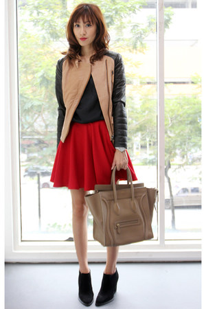 red Mood & Closet skirt - black Zara boots - camel Zara jacket
