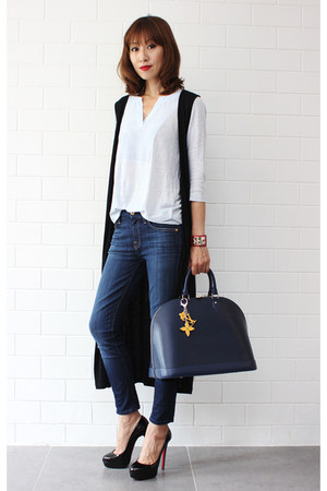 black Kookai vest - 7 for all mankind jeans - Louis Vuitton bag - Witchery top