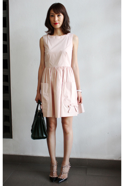 light pink Valentino dress - Yves Saint Laurent bag - Valentino heels f23e0fc533abf