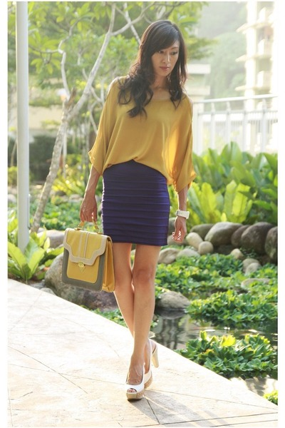 mustard Mood & Closet top - heather gray Mood & Closet bag