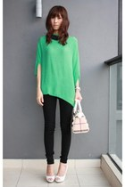 green sweater blouse random top - black 7 for all mankind jeans