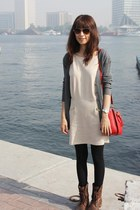 beige Mood & Closet dress - dark brown Steve Madden boots - red Miu Miu bag
