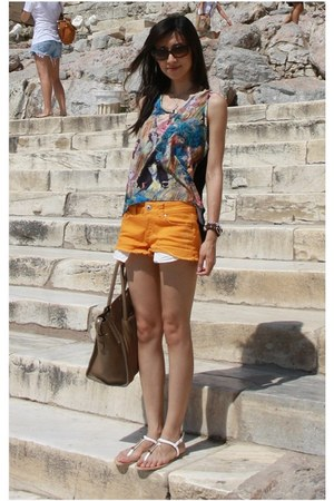 carrot orange denim shorts Forever 21 shorts - camel boston Celine bag