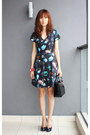 Floral-club-monaco-dress-christian-dior-bag-salvatore-ferragamo-pumps