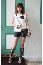 black gladiator stuart weitzman sandals - Guess shorts - MSGM top
