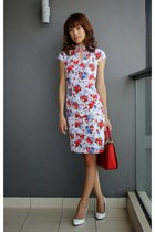 red Miu Miu bag - white Mood & Closet dress - white winter shoes Zara heels