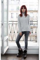 turtleneck banana republic sweater - coach boots - gray J Brand jeans