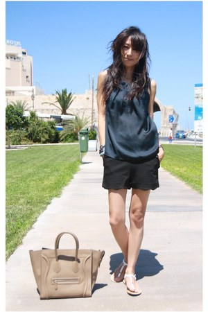 black Mood &amp; Closet shorts - tan boston leather Celine bag