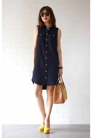 Miu Miu bag - navy shirt dress Levis dress - Karen Walker sunglasses