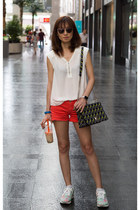 Witchery top - orange denim Lucky Brand shorts - christian dior sunglasses