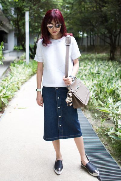 denim AG Jeans skirt - christian dior sunglasses - black Miu Miu sneakers