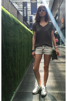 gray denim shorts - christian dior sunglasses - army green silk Saba top