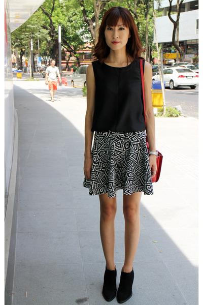 black ankle fall Zara boots - red Miu Miu bag - black Zara skirt