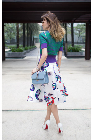 satin MSGM skirt - Valentino bag - Retrocraft sunglasses