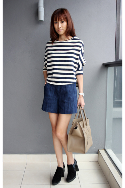 navy Zara shorts - black TODs boots - light brown Celine bag