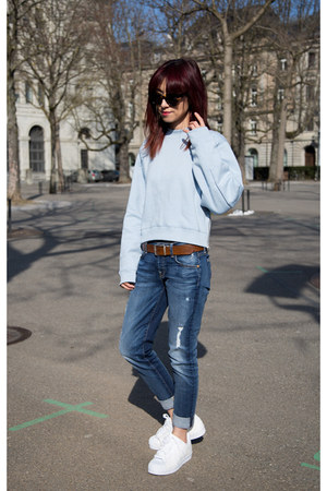 boyfriend 7 for all mankind jeans - light blue acne sweater