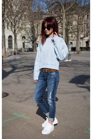boyfriend 7 for all mankind jeans - light blue acne sweater