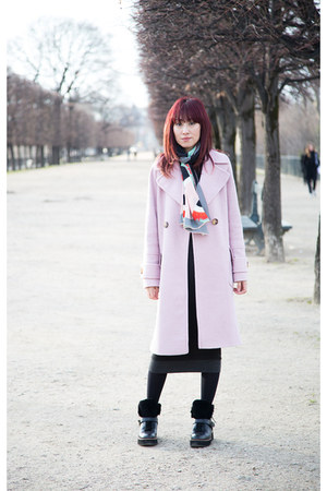 pink oversized asos coat - coach boots - gray knit dress - Fendi scarf