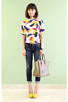 white Zara top - navy Guess jeans - Celine bag - Miu Miu pumps
