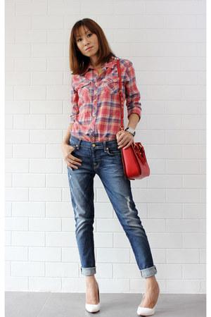 blue 7 for all mankind jeans - Miu Miu bag - checkered True Religion top