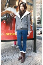 dark brown Gap boots - blue Mood & Closet jeans - heather gray Zara sweater