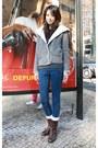 Dark-brown-gap-boots-blue-mood-closet-jeans-heather-gray-zara-sweater
