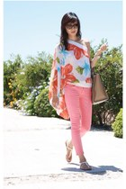 white floral toga random top - salmon 7 for all mankind jeans