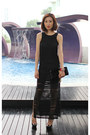 Black-river-island-dress-yves-saint-laurent-bag-christian-louboutin-pumps