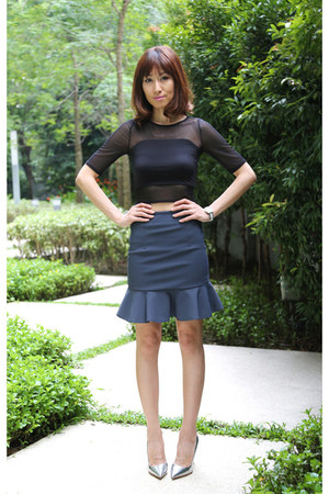 black cropped Kookai top - Kookai skirt - silver christian dior pumps