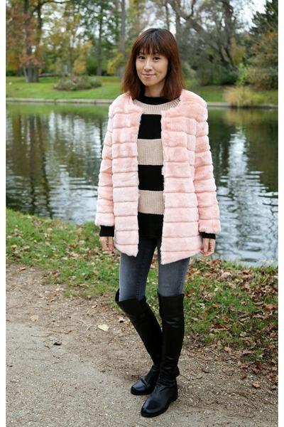 pink faux fur storets coat - black over the knee stuart weitzman boots