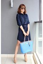 shirt dress Club Monaco shirt - blue coach bag - Karen Walker sunglasses